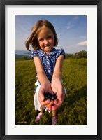 Child, blueberries, Alton, New Hampshire Fine-Art Print