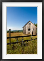 Mountain bike and barn on Birch Hill, New Durham, New Hampshire Fine-Art Print