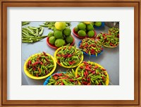 Peppers, fruit and vegetable outdoor market, Suva, Fiji Fine-Art Print