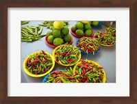 Peppers, fruit and vegetable outdoor market, Suva, Fiji Fine-Art Print