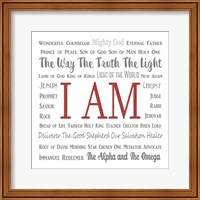 Names of Jesus Square Gray and Red Text Fine-Art Print
