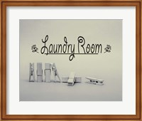 Laundry Room Sign Clothespins Black and White Fine-Art Print