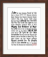 Names of Jesus Rectangle Black and Red Text Fine-Art Print