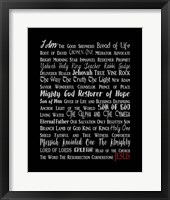 Names of Jesus Rectangle Gray and Red Text Fine-Art Print