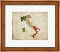 Map with Flag Overlay Italy Fine-Art Print