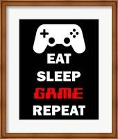 Eat Sleep Game Repeat  - Black Fine-Art Print