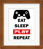 Eat Sleep Game Repeat  - White and Red Fine-Art Print
