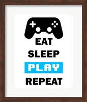 Eat Sleep Game Repeat  - White and Blue Fine-Art Print