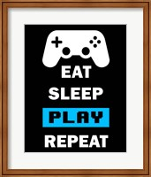 Eat Sleep Game Repeat  - Black and Blue Fine-Art Print