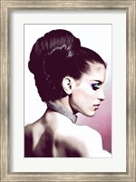 Vintage Fashion Woman With Necklace Pink Fine-Art Print