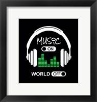 Music On, World Off Headphones Black Background Fine-Art Print