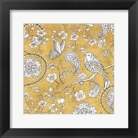 Color my World Bird Paisley I Gold Fine-Art Print