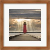 Manistique Lighthouse & Sunbeams, Manistique, Michigan '14 - Color Fine-Art Print
