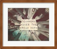 Teamwork Makes The Dream Work Stacking Hands Black and White Fine-Art Print