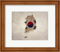 Map with Flag Overlay South Korea Fine-Art Print