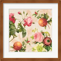 Pomegranates and Roses on Cream II Fine-Art Print