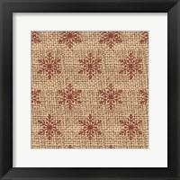 Burlap Red Snowflakes Fine-Art Print