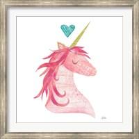 Unicorn Magic II Heart Sq Pink Fine-Art Print