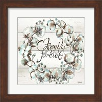 Cotton Boll Family Wreath Fine-Art Print