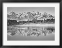 Allgaeu Alps and Hopfensee lake, Bavaria, Germany (BW) Fine-Art Print