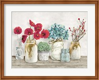 Floral Composition with Mason Jars Fine-Art Print