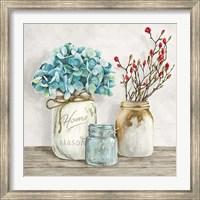 Floral Composition with Mason Jars I Fine-Art Print