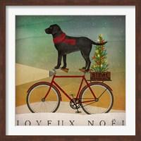 Black Lab on Bike Christmas Fine-Art Print