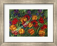 Iris Dragonfly And Bees Fine-Art Print