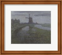 Oostzijdse Mill Along the River Gein by Moonlight Fine-Art Print