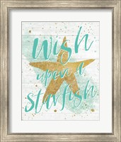 Silver Sea Life Aqua Starfish Shiplap Fine-Art Print