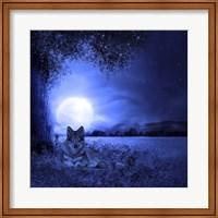 Moon Night And Wolf Fine-Art Print