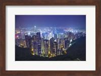 China, Hong Kong, Overview of City at Night Fine-Art Print