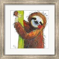 Sloth with Red Flower Fine-Art Print
