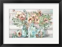 Blush Poppies and Eucalyptus in bottles landscape Fine-Art Print