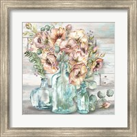 Blush Poppies and Eucalyptus Still Life Fine-Art Print