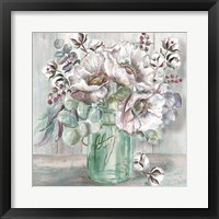 Blush Poppies and Eucalyptus in Mason Jar Fine-Art Print