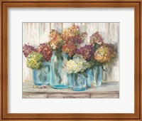 Hydrangeas in Glass Jars White Wood Fine-Art Print