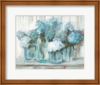 Hydrangeas in Glass Jars Blue Fine-Art Print