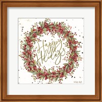Happy Holidays Berry Wreath Fine-Art Print
