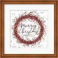 Merry Christmas Berry Wreath Fine-Art Print