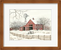 Winter Barn with Windmill Fine-Art Print